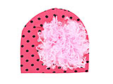 Candy Pink Black Dot Print Hat with Pale Pink Large Curly Marabou