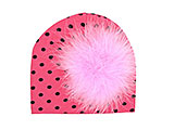 Candy Pink Black Dot Print Hat with Pale Pink Large regular Marabou