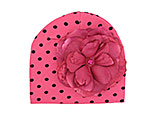Candy Pink Black Dot Print Hat with Raspberry Large Rose