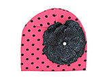 Candy Pink Black Dot Print Hat with Sequins Black Rose