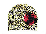 Leopard Print Hat with Black Raspberry Large Geraniums