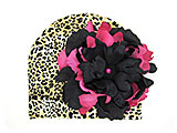 Leopard Print Hat with Black Raspberry Large Peony