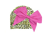 Tan Black Print Hat with Candy Pink Bow-Rae-Mi