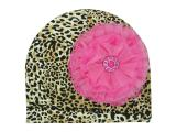 Leopard Print Hat with Candy Pink Lace Rose