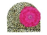 Leopard Print Hat with Raspberry Lace Rose