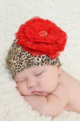 Leopard Print Hat with Red Lace Rose