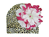 Leopard Print Hat with White Raspberry Large Peony