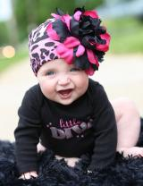 Pink Black Leopard Print Hat with Black Raspberry Large Peony