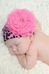 Pink Black Leopard Print Hat with Candy Pink Lace Rose