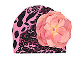 Pink Black Leopard Print Hat with Candy Pink Large Rose