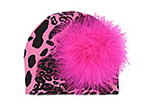 Pink Black Leopard Print Hat with Hot Pink Large regular Marabou