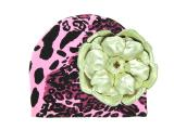 Pink Black Leopard Print Hat with Metallic Gold Rose