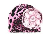 Pink Black Leopard Print Hat with Metallic Pale Pink Rose