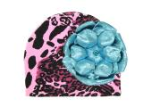 Pink Black Leopard Print Hat with Metallic Teal Rose
