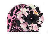 Pink Black Leopard Print Hat with Pink Black Large Peony