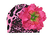Pink Black Leopard Print Hat with Raspberry Large Peony