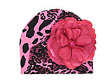 Pink Black Leopard Print Hat with Raspberry Rose