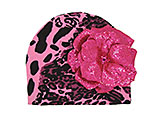 Pink Black Leopard Print Hat with Sequins Raspberry Rose
