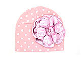Pink White Print Hat with Metallic Pale Pink Rose