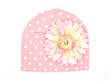 Pink White Print Hat with Pale Pink Daisy