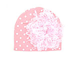 Pink White Print Hat with Pale Pink Large Curly Marabou
