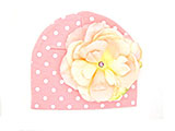 Pink White Print Hat with Pale Pink Large Rose