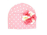 Pink White Print Hat with Pink White Large Geraniums