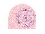 Pink White Print Hat with Sequins Pale Pink Rose
