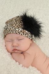 Tan Black Print Hat with Black Large regular Marabou