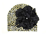 Tan Black Print Hat with Black Large Peony