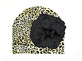 Tan Black Print Hat with Black Large Rose