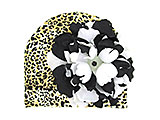 Tan Black Print Hat with Black White Large Peony