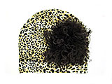 Tan Black Print Hat with Brown Large Curly Marabou