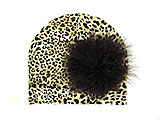 Tan Black Print Hat with Brown Large regular Marabou