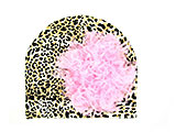 Tan Black Print Hat with Candy Pink Large Curly Marabou