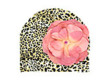 Tan Black Print Hat with Candy Pink Large Rose