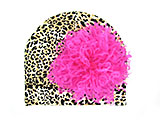 Tan Black Print Hat with Hot Pink Large Curly Marabou