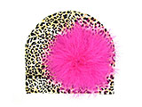 Tan Black Print Hat with Hot Pink Large regular Marabou