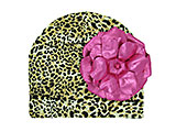 Tan Black Print Hat with Metallic Raspberry Rose