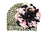 Tan Black Print Hat with Pink Black Large Peony