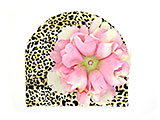 Tan Black Print Hat with Pale Pink Large Peony