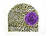 Tan Black Print Hat with Purple Large Geraniums