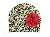 Tan Black Print Hat with Raspberry Large Geraniums