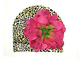 Tan Black Print Hat with Raspberry Large Peony