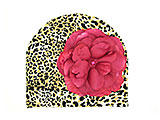 Tan Black Print Hat with Raspberry Large Rose