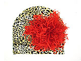Tan Black Print Hat with Red Large Curly Marabou