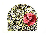Tan Black Print Hat with Red Pink Large Geraniums
