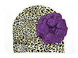 Tan Black Print Hat with Sequins Purple Rose