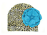 Tan Black Print Hat with Sequins Teal Rose