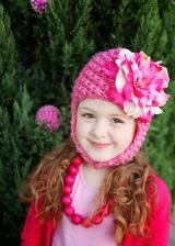 Candy Pink Pretty Pixie Hat with Pink Raspberry Large Peony